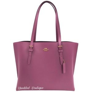 COACH Leather Tote Handbag In Berry